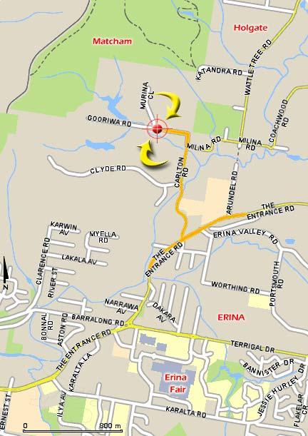 Gosford Gymnastics Erina Kindergym map